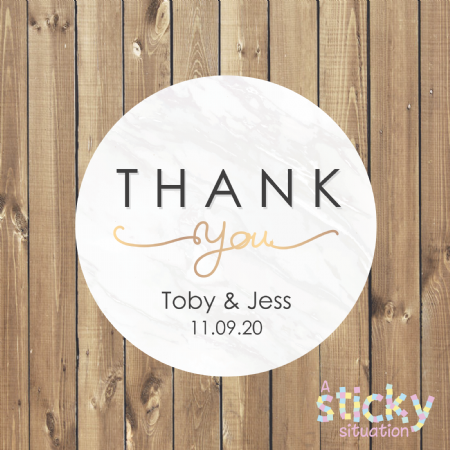 Personalised Thank You Stickers - Marble Design